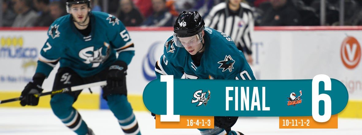 BARRACUDA POINT STREAK SNAPPED IN 6-1 LOSS AT SD