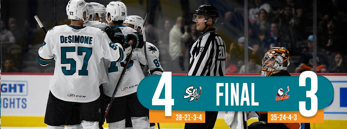 BARRACUDA SECURE HOME-ICE WITH 4-3 WIN AT SD