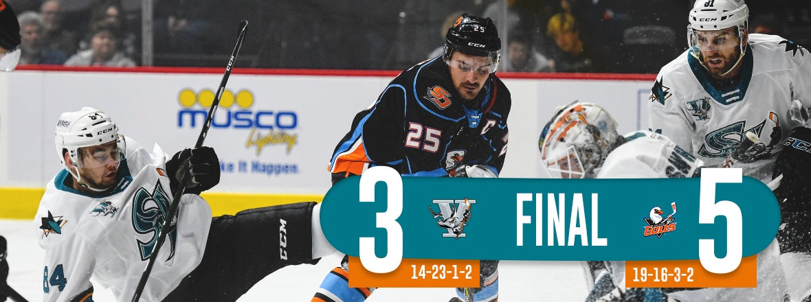LETUNOV SCORES TWICE BUT BARRACUDA FALL 5-3 AT SD